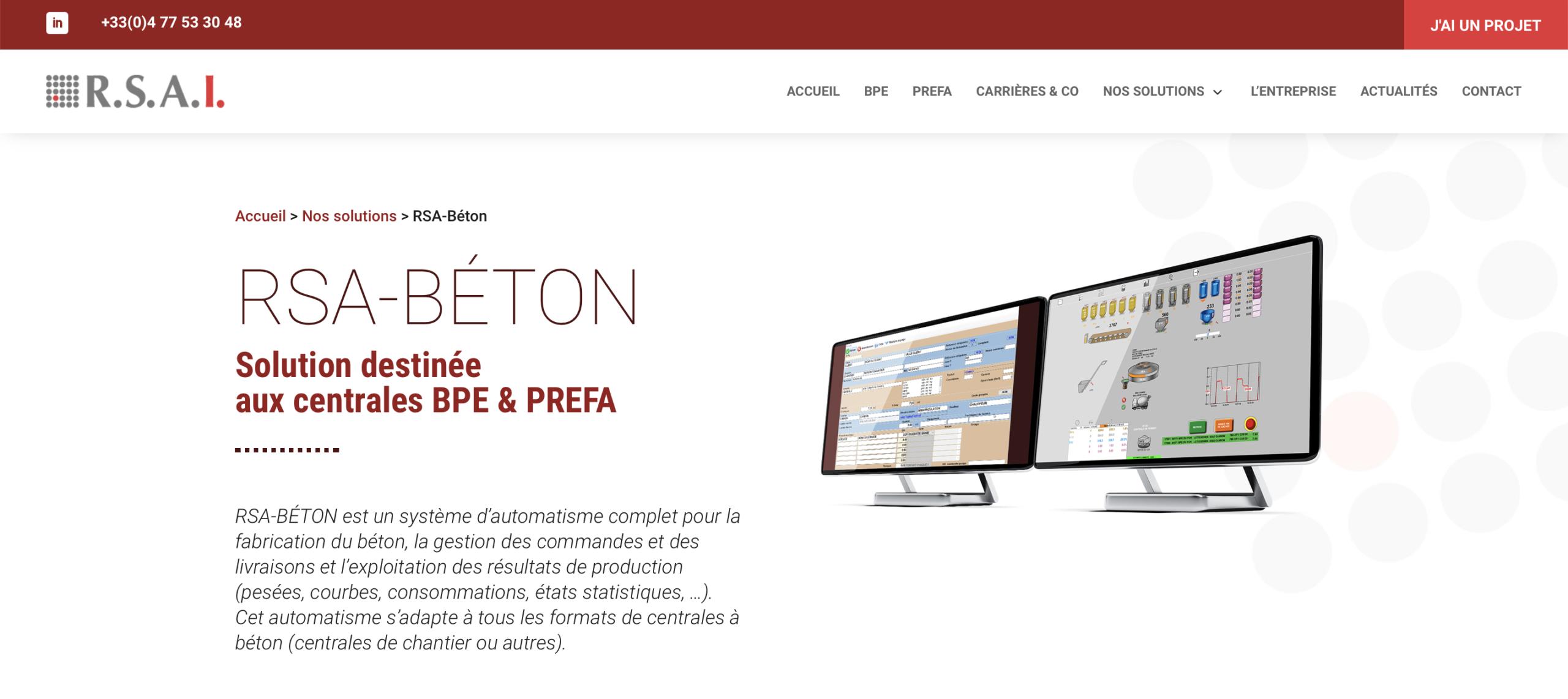 Page d'accueil du nouveau site internet RSAI